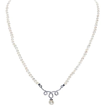 Ivory & Co. Sonnett Freshwater Pearl Pave Pendant Necklace, White/Silver