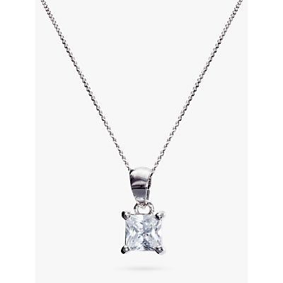 Ivory & Co. Princess Solitaire Cubic Zirconia Pendant Necklace, Silver/Clear