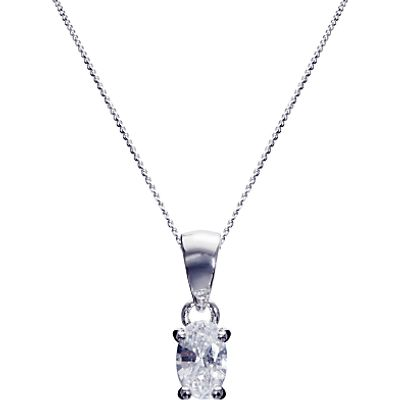 Ivory & Co. Epsom Oval Solitaire Cubic Zirconia Pendant Necklace, Silver/Clear