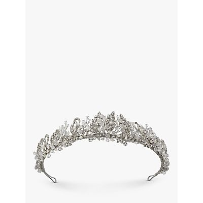Ivory & Co. Vintage Lace Freshwater Pearl and Cubic Zirconia Pave Tiara, Silver