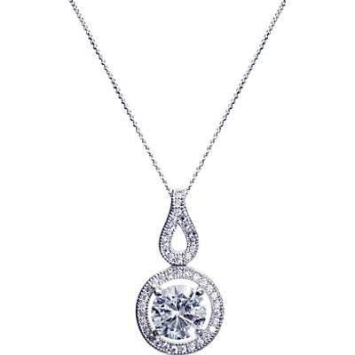 Ivory & Co. Heritage Round Cubic Zirconia Pave Drop Pendant Necklace, Silver