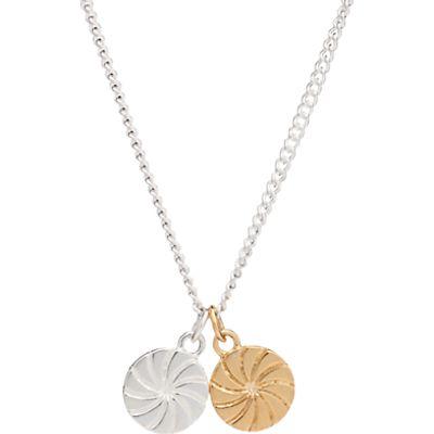Rachel Jackson London Double Circle Pendant Necklace, Gold/Silver