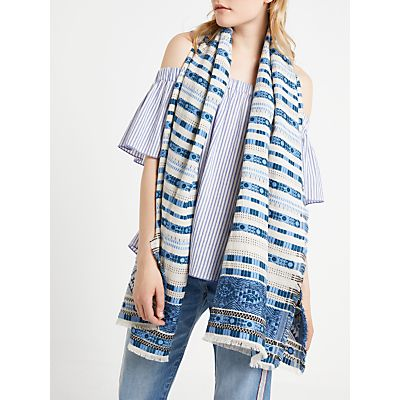 AND/OR Stripe Embroidery Cotton Scarf, Blue Mix