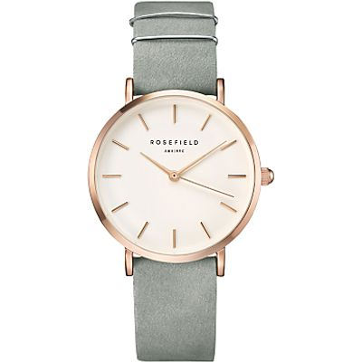 ROSEFIELD WMGR-W74 Women's The West Village Leather Strap Watch, Mint Grey/White
