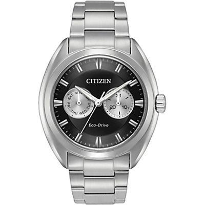 Citizen BU4010-56E Men's Day Date Bracelet Strap Watch, Silver/Black