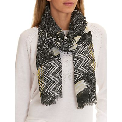 Betty Barclay Long Lattice Floral Print Scarf, Black/Multi
