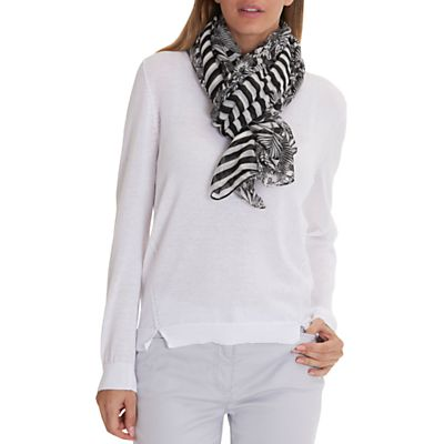 Betty Barclay Long Striped Floral Print Scarf, Black/White