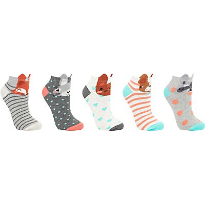John Lewis Animal Face Print Trainer Socks, Pack of 5, Multi