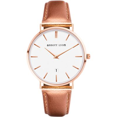 Abbott Lyon Women's Kensington 34 Date Leather Strap Watch, Rose Gold/White