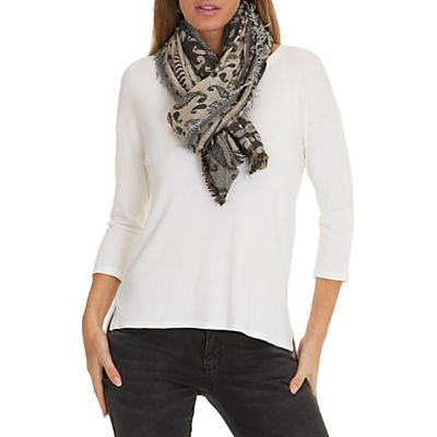 Betty & Co. Long Paisley Weave Scarf, Black/Taupe