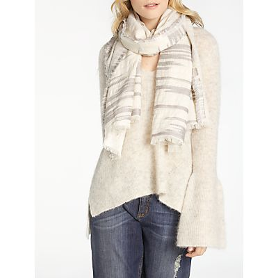 AND/OR Slub Texture Broken Stripe Scarf, White/Light Grey