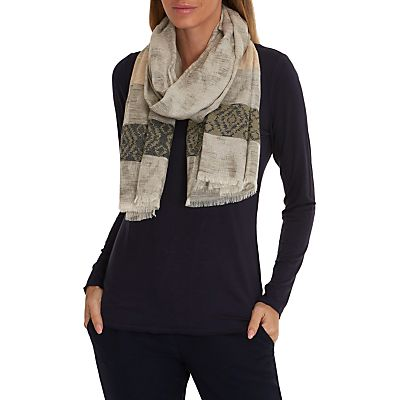 Betty & Co. Long Striped Scarf, Khaki/Grey
