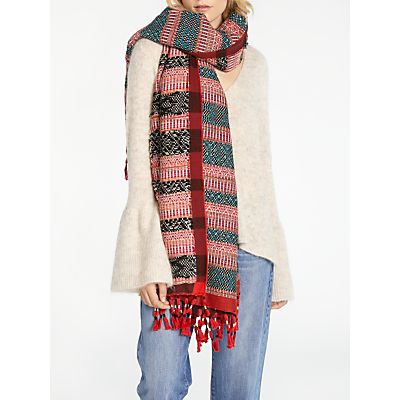 AND/OR Folkloric Jacquard Scarf, Red/Multi