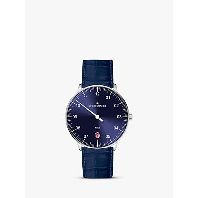 MeisterSinger NE908N-SGF14 Unisex Neo Automatic Date Leather Strap Watch, Dark Blue