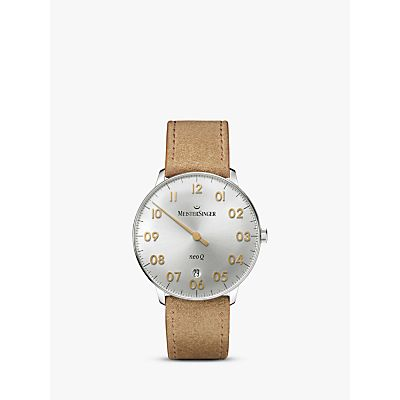 MeisterSinger NQ901GN Women's Neo Q Date Leather Strap Watch, Cognac/Silver