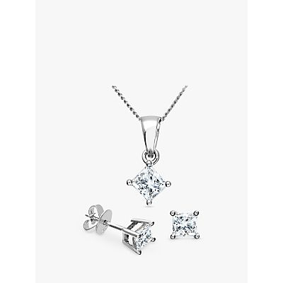 Diamond Collection 18ct White Gold Princess Cut Diamond Solitaire Stud Earrings and Pendant Necklace