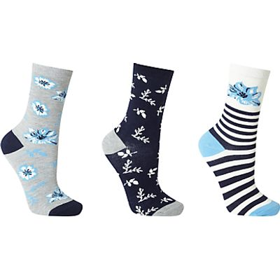 John Lewis Archive Print Floral Ankle Socks, Pack of 3, Midnight Blue/Multi