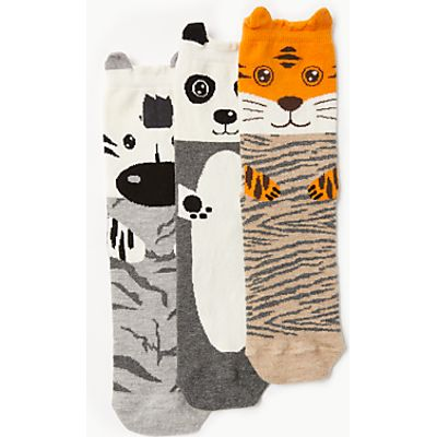 John Lewis Wild Animal Knee High Socks, Pack of 3, Grey/Natural