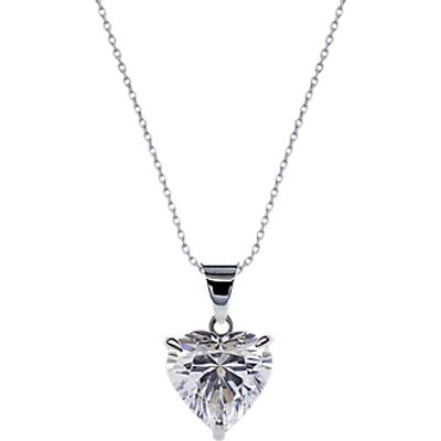 CARAT* London 9ct White Gold Heart Pendant Necklace