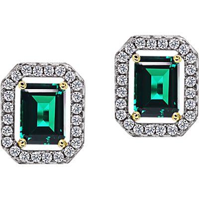 CARAT* London Sterling Silver Border Stud Earrings, Clear/Green
