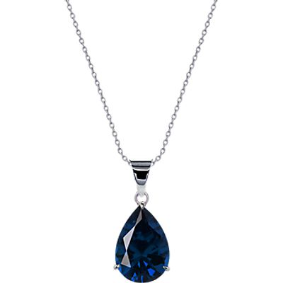 CARAT* London 9ct White Gold Teardrop Pendant Necklace