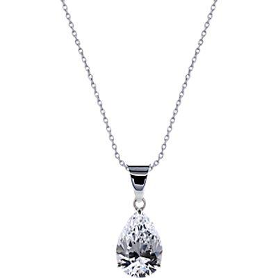 CARAT* London 9ct White Gold Teardrop Pendant Necklace