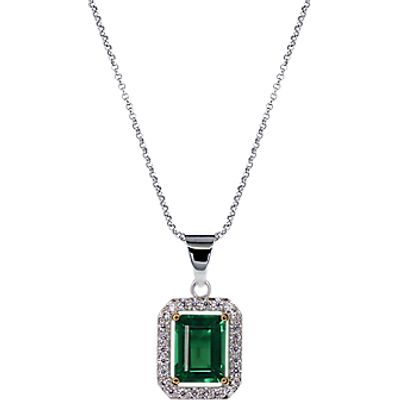 CARAT* London Cushion Pendant Necklace, Silver/Green
