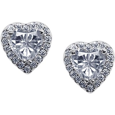 CARAT* London Cora Sterling Silver Heart Stud Earrings, Clear