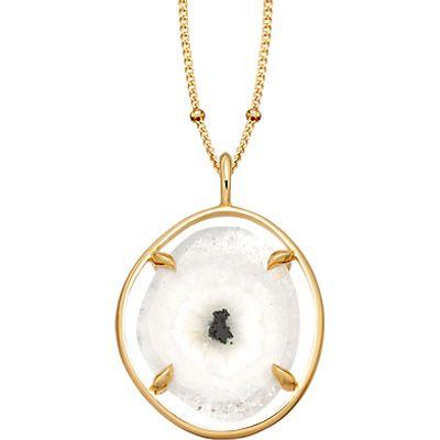 Missoma 18ct Gold Vermeil Slice Pendant Necklace, Snowflake Agate