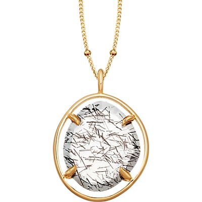 Missoma 18ct Gold Vermeil Slice Pendant Necklace, Black Rutilated Quartz