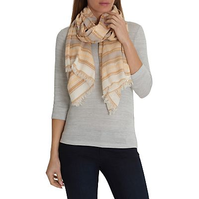 Betty Barclay Long Striped Scarf,Cream/Yellow