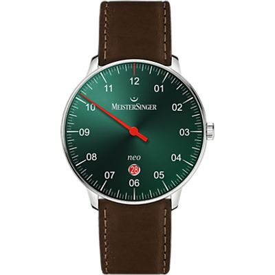 MeisterSinger NE409-SCF02 Unisex Neo Automatic Date Leather Strap Watch, Dark Brown/Green