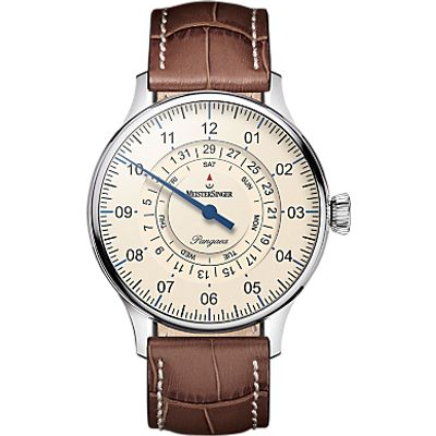 4250814301091 | MeisterSinger PDD903 Unisex Pangaea Day Date Automatic Leather Strap Watch  Tan Cream Store