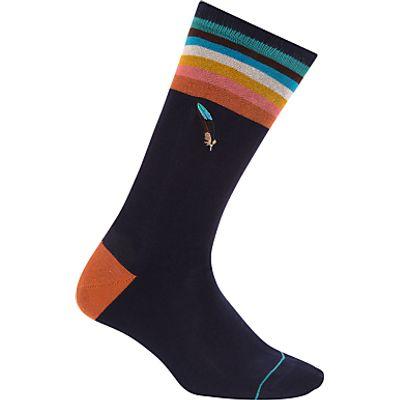 Paul Smith Feather Socks, One Size, Navy/Multi