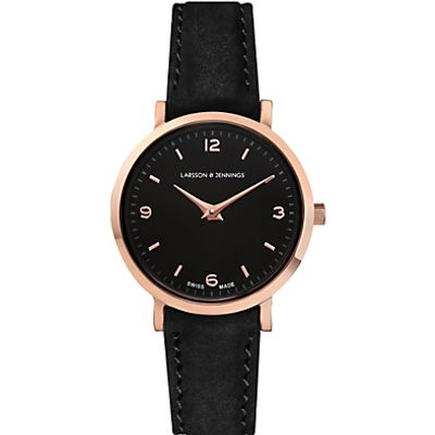 Larsson & Jennings LGN26-L-H-Q-P-RGB-O Women's Lugano Leather Strap Watch, Black