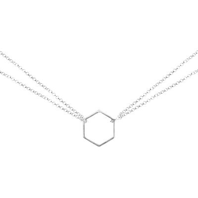 Matthew Calvin Double Chain Hexagon Pendant Necklace