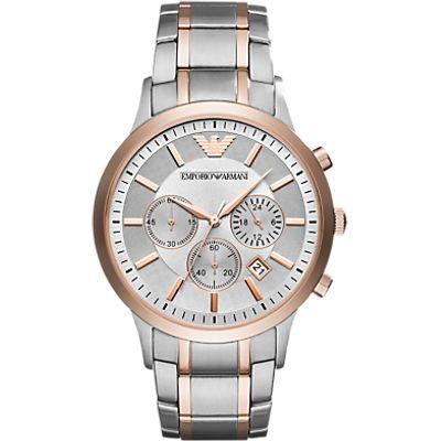 Emporio Armani AR11077 Men's Chronograph Date Bracelet Strap Watch, Silver/Rose Gold