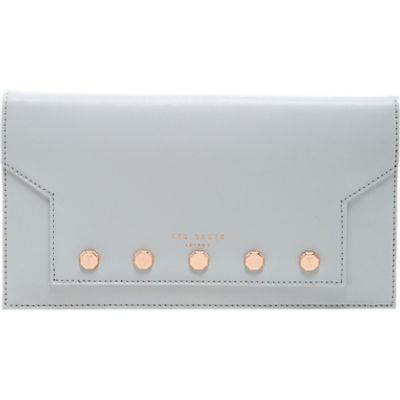 5054787898980   Ted Baker Studded leather travel wallet Light Grey Store