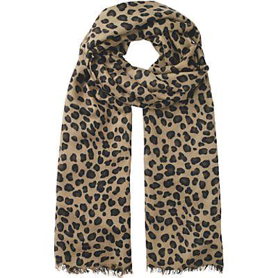 hush Leopard Cashmere Scarf, Brown