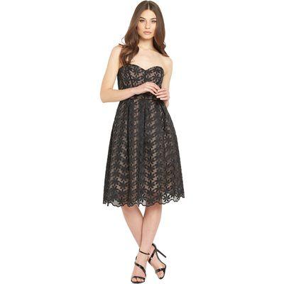 Miss Selfridge Embroidered Organza Bandeau Midi Dress