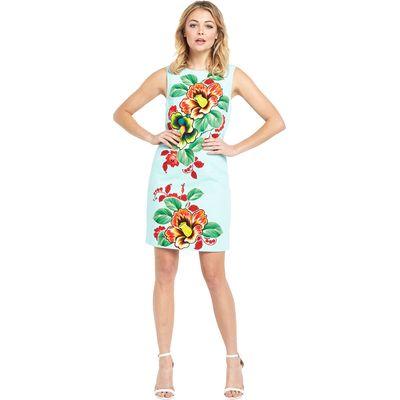 Warehouse Sleeveless Botanical Scarf Mini Dress