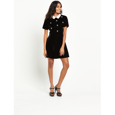 Miss Selfridge Petite Velvet Embellished Collar Dress