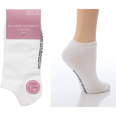 Jennifer Anderton Pack of 3 Ladies Plain Trainer Socks