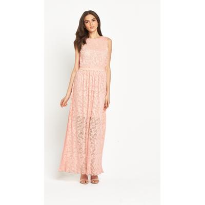 Miss Selfridge Lace Plisse Maxi Dress With Crochet Waist Trim