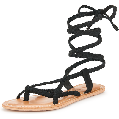 V by Very Evelyn Plaited Tie Up The Leg Flat Sandals