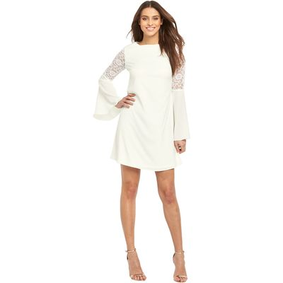 V By Very Lace Fluted Sleeve Swing Dress