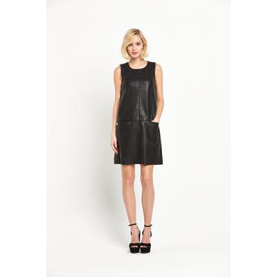 Warehouse Popper Detail Faux Leather Dress