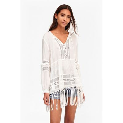Lola Lace Fringed Top - summer white