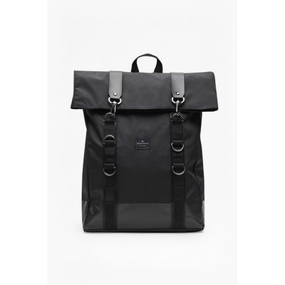 Casual Roll Top Rucksack - black