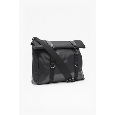 Casual Roll Top Messenger - black